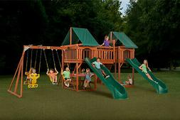 Backyard Large Wooden Playset,w/ Slides,Glider,Climbing ,Tow