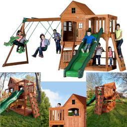 Backyard Pacific View All Cedar Wood Playset Playground Swin
