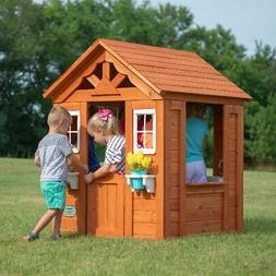Backyard Playhouse Wooden Outdoor House Playset Cottage Ceda