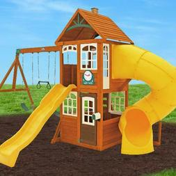 Backyard Swing Set w/Tube Slide Wood Outdoor Playground Play