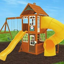 Backyard Swing Set w/ Tube Slide Wood Outdoor Playground Pla