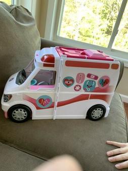 BARBIE CARE CLINIC VEHICLE Ambulance--Hospital PLAY SET +