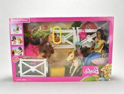 Mattel Barbie Hugs N' Horses 15+ Piece Playset with Barbie &