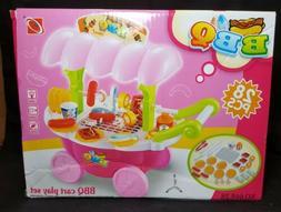 BBQ Time! BBQ Cart Play Set For Children ~ 28 Pieces ~ Light