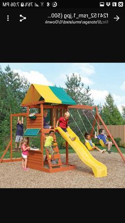 Big backyard hazelwood wooden playset outdoors clubhouse mon