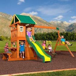 Big Backyard Oakmont Wooden Cedar Swing Set Outdoor Playgrou