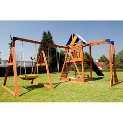 BIG Wood Backyard Play Set Playground  Play House Slide Monk