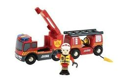 BRIO Emergency Fire Engine 3 Pc Set | Wooden Train Sets & To