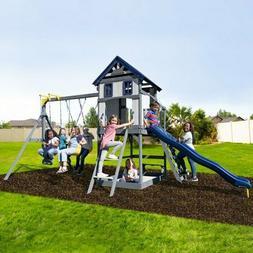 Brookside Wooden Swing Set Backyard Outdoor Play Toys Slides