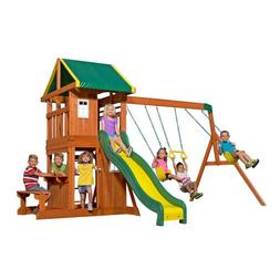 Brown 103-in Surface Mount Oakmont All Cedar Playset with Tw