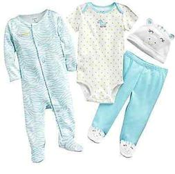 Carters Baby Girl Clothes 6 Months Sleep & Play Gift Set Hat