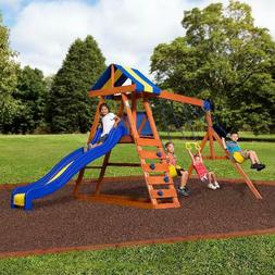Cedar Wooden Swing Set Outdoor Backyard Kids Playset Playgro