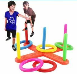 Children Kids Throw Lawn Outdoor Game Hoop Ring Toss Quoits