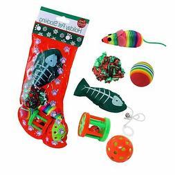 Christmas Cat Stocking 6 Assorted Toys Lot Bulk Mice Balls C