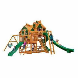 Gorilla Playsets Empire Wooden Cedar Swing Set Kids Backyard