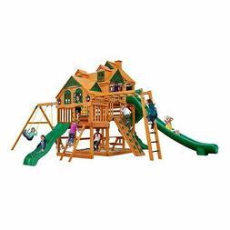 Gorilla Playsets Empire Wooden Cedar Swing Set Kids Backyard
