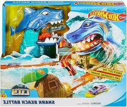 Hot Wheels City Shark Beach Battle Play Set with shark that