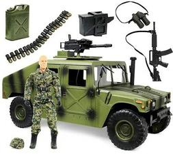 "Click N' Play Military Jumbo 12"" Long Humvee Vehicle Action"