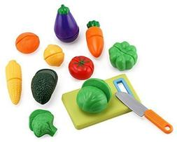 Click n' Play 12 pc Kids Pretend Play Cutting Vegetable Toy