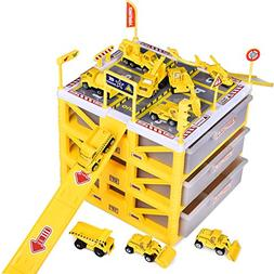 """Construction Toys 3-Level 9"""" Car Garage Playset Include 10 D"""
