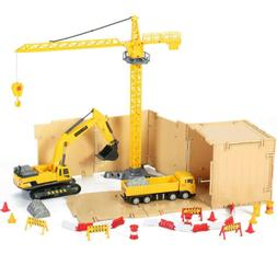 Construction Site Vehicles Toy Set,Tractor,Digger,Cement,Eng