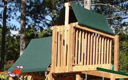 CUSTOM SIZE PLAYSET CANOPY/TARP ~GREEN, up to 11FT LG - Outd