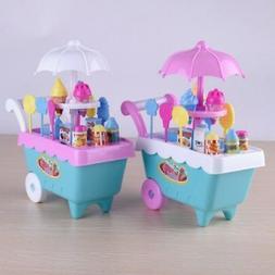 Cute Kids Simulation Ice Cream Shop Dresser Cart Pretend Toy