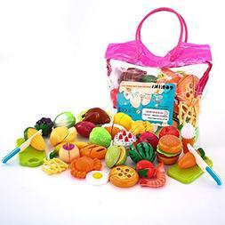 SONi 32PCS Cutting Toys Pretend Food Fruits Vegetable Playse