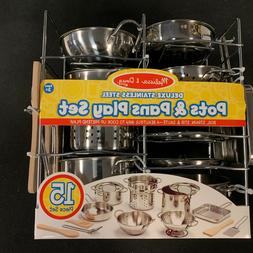 DELUXE NEW Melissa & Doug Stainless Steel Pots and Pans Kitc