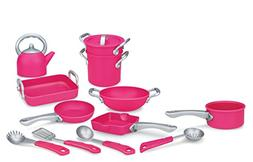 Deluxe Pink Kitchen Gourmet Cookware Pots and Pans Playset f
