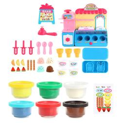 DIY Plastic Ice Cream Store Playset Pretend Play Toy for Kid