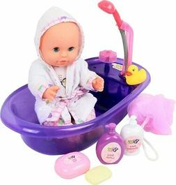 Click N' Play Newborn Baby Doll Bath Time Play Set with Acce