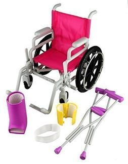 Click n' Play Doll Wheelchair & Crutches Set For 18 inch Ame