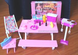 GLORIA Dollhouse FURNITURE SIZE Picnic Benches W/Cooler PLAY