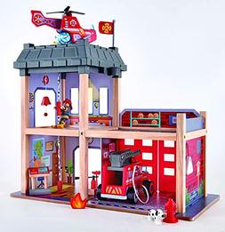 Hape Fire Station Playset -Fire Truck and Helicopter-Dollhou