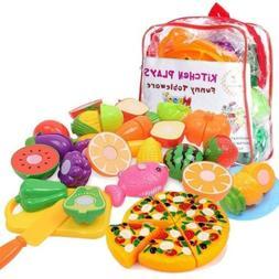 12pcs Food Play Set Cut Fruit Vegetable Kids Toddler Toy Pre
