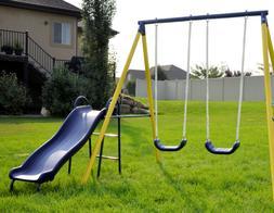 Fun Metal Swing Set Kids Playground Slide Outdoor Backyard S