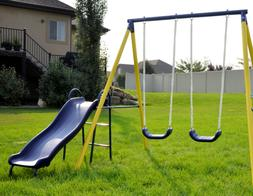 Playground Swing Slide Playset Metal Outdoor Backyard Space