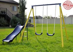 Fun Metal Swing Set Kids Playground Slide Outdoor Backyard S