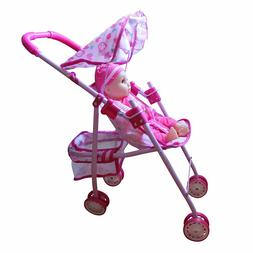 Fun Toddler Kid Connection Baby Doll Stroller Hood Basket Ca