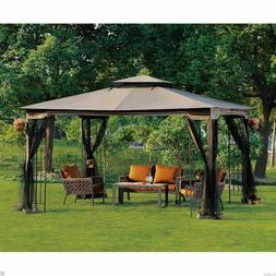 Outdoor Gazebo With Netting Canopy Backyard Pergola 10 x 12