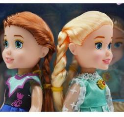 "Gift for Girls 2PCS 7"" Playset Frozen Princess Elsa&Anna Dol"