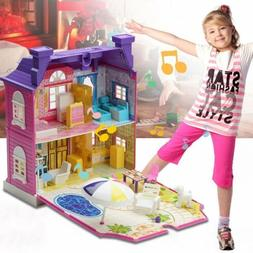 Girls Doll House Play Set Pretend Play Toy for Kids Pink Dol