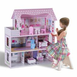 Girls Playhouse Dollhouse Kids Barbie Dream House W/ Furnitu