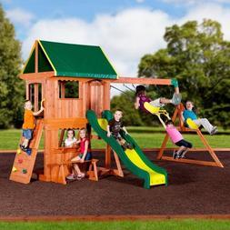 Gorilla Bars Backyard Playset Wooden Cedar Swingset  Canopy