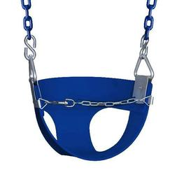 Gorilla Playsets Half Bucket Toddler Swing with Chain Blue P