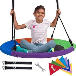 """Heavy Duty 40"""" Saucer Tree Swing for Kids - Giant Large Ro"""