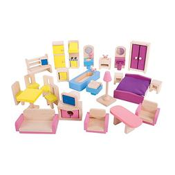Bigjigs Toys Heritage Playset Wooden Doll Furniture Set - 27