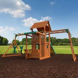 New Huge Outdoor Wood Playground Cedar Swing Set Play Ground