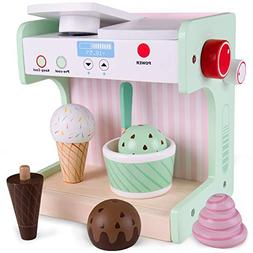 Ice Cream Maker Playset   Classic Wooden Play Food and Prete